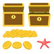 Dower chest isolated cartoon icons and pile of gold coins Piirros