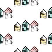 Line houses scandinavian ornament. Vector hand drawn hut seamless pattern Stock Illustration
