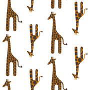 Giraffe cute vector seamless pattern. Safari animal texture spots child Stock Illustration