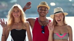 Smiling group of people waving hello with hands Stock Footage