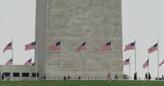 Washington Monument with American Flags Flying Close Up 10bit, 4K Stock Footage