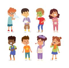 Sick children vector set - stock illustration