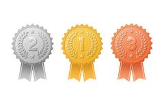 Gold, silver, bronze award badges with color ribbons vector set. Stock Illustration