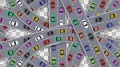 Cartoon Vector Cars Driving on an intersection in Rush Hour Illustration Stock Footage