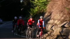 Cyclists on an early morning training ride through a national park. Stock Footage