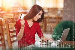 Angered business woman shopping online Stock Photos