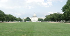 Capital Building Blue Skies and Green Lawn Washington DC 10bit, 4K Stock Footage