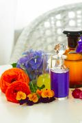 Aromatherapy - flowers in mortar Stock Photos