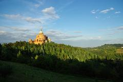 BOLOGNA,IT - CIRCA JUNE 2012 - View of S.Luca church on the hills near Bologn - stock photo