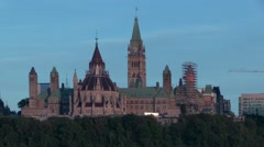 Canada's Parliament buildings at dusk Stock Footage