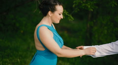Young couple training dance outdoors Stock Footage