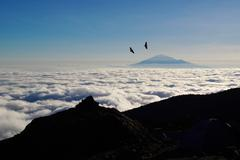 Mount Meru from Kilimanjaro Stock Photos