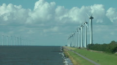 Landscape of the North Sea coast with windmills Stock Footage