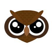cute owl cartoon icon - stock illustration