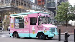 Ice cream truck sitting in downtown New York City on hot day 4k Stock Footage
