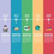 Timeline infographics with icons set. Piirros