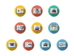 Book genres round flat vector icons set Stock Illustration