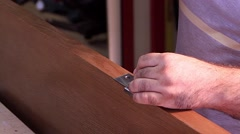 Master makes doors - hinge screwing Stock Footage