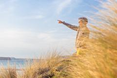 Free active man enjoying beauty of nature. - stock photo