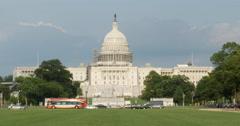 Capital Building Blue Skies and Green Lawn Washington DC 10bit, 4K Stock Footage