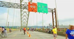 People Enjoy Time on the West End Bridge for Open Streets Pittsburgh Stock Footage
