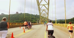 People Enjoy Time on the Closed West End Bridge for Open Streets Pittsburgh Stock Footage