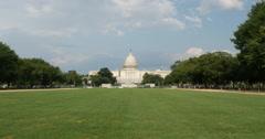 Capital Building Blue Skies Green Lawn Washington DC Wide 10bit, 4K Stock Footage