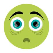 Scared face emoticon icon Stock Illustration