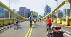 People Use the Roberto Clemente Bridge During Open Streets Pittsburgh Stock Footage