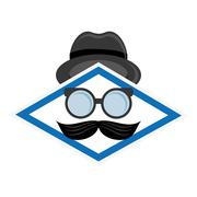 hat glasses and mustache icon - stock illustration