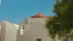 POV Walk Towards a Cycladic Church in the Island of Mykonos Stock Footage