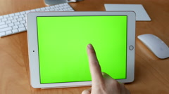 Man using tablet pc with various hand gestures - stock footage