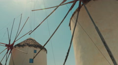POV Shot Featuring Traditional Windmills in Mykonos Stock Footage