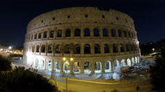 The Colosseum, Rome, Italy, night. The most impressive building of Rome Stock Footage