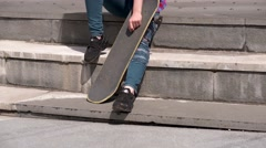 sexy pretty skater woman outdoor - stock footage