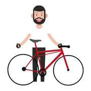 Man with facial hair and bike icon Stock Illustration