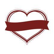 Heart shape and ribbon icon. Love design. Vector graphic Stock Illustration