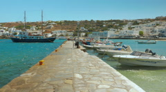 POV Walk in the Pier of Mykonos Old Port Stock Footage