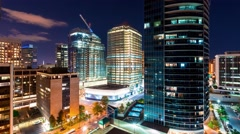 Time-lapse of the cityscape of Rosslyn, Virginia at night Stock Footage