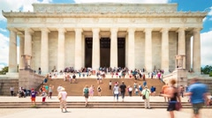 Time-lapse of tourists visiting the Lincoln Memorial Stock Footage
