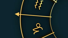 Astrology symbols in circle Stock Footage