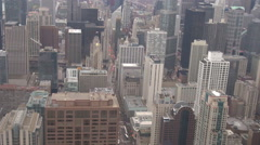 Aerial view of famous Chicago city business district with tall skyscraper icon Stock Footage