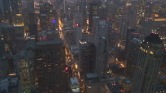 Beautiful Chicago panorama at twilight crowded American city business building Stock Footage