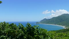 Beautiful beach on the east of Taiwan with nice view and sea Stock Footage