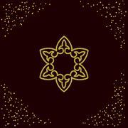 Decorative element in golden texture. Stock Illustration