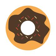 donut glazed with sprinkles icon - stock illustration