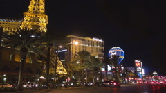 Amazing Las Vegas Strip boulevard by night traffic car illuminated building icon Stock Footage