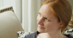 Redhead Woman Smiling Stock Footage