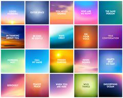 BIG set of 20 square blurred nature backgrounds. With various love quotes Stock Illustration
