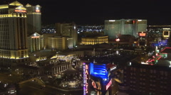 Aerial view of famous hotel casino building in Las Vegas traffic car night icon Stock Footage
